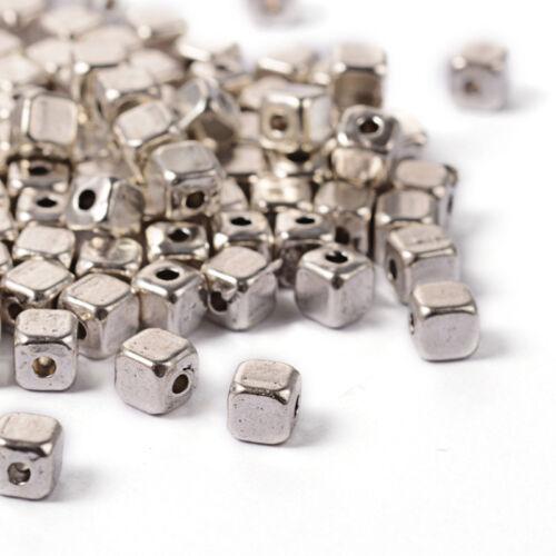 100pcs Tibetan Silver Alliage Cube Metal Beads loose Entretoises lisse Tiny Craft 4 mm
