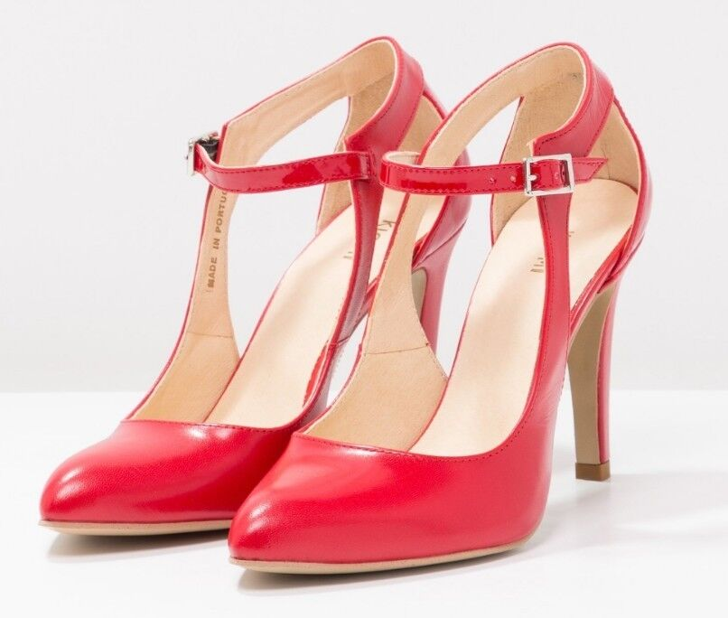 Kiomi Womens Red Buckle Leather Pointed High Heels With Ankle Buckle Red Eu 38 dafde7