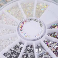 3D DIY Nail Art Tips Charm Gems Crystal Glitter Rhinestones Manicure Decor Wheel