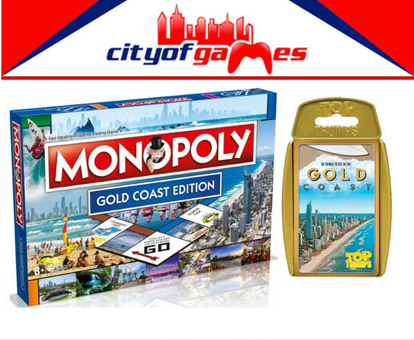 gold Coast Monopoly Board Game & Top Trump - gold Coast Bundle Brand New