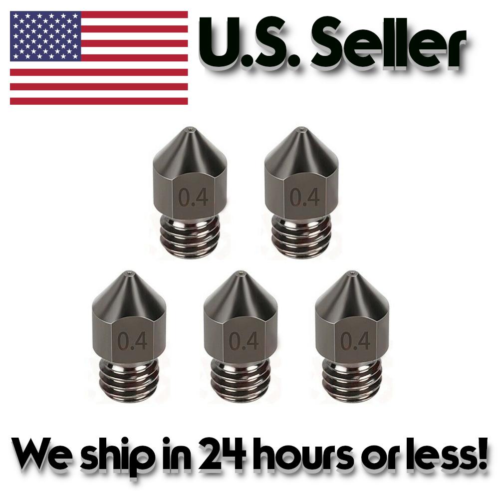5PCS 3D Printer Hardened Steel MK8 MK7 Nozzles 0.4mm 1.75mm
