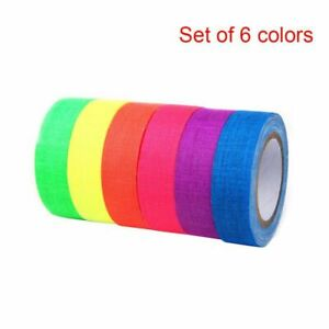 6 Colors Neon Cloth Gaffer Tape Fluorescent UV Blacklight Glow in The Dark Party