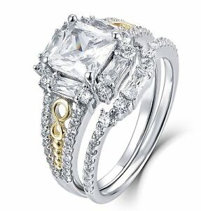 Image Is Loading 2pc Sterling Silver Cz Wedding Band Engagement Rings
