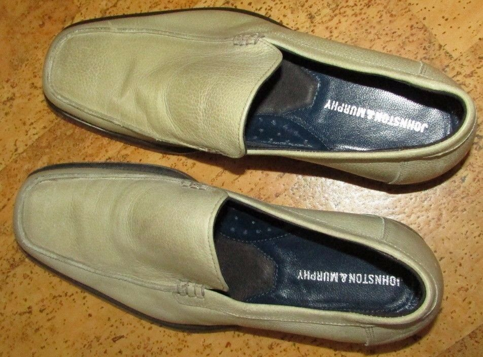 Johnston Murphy Ushry Venetian Ivory Leather Loafers - M 8 1 2 - Made in