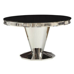 Barzini Contemporary Dining Round Table Glass Top Stainless Steel