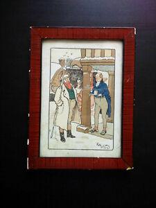 Rare estampe originale gravure Harry Eliott signée cadre d'origine dilligence