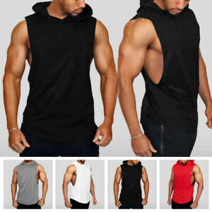 Men/'s Sleeveless Vest Bodybuilding Hooded Tank Top Muscle Clothing T-Shirt Gym