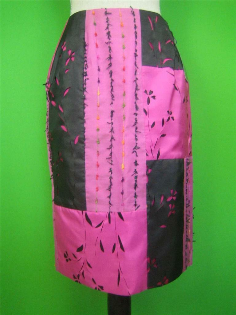 LAFAYETTE 148 NY Magenta Silk NEW One-of-Kind Lined Skirt 6