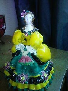 Bien Marquise Figurine Céramique Italienne 18 Cm Majolique