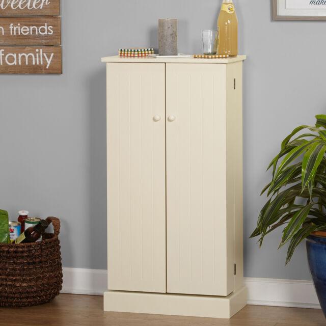 White Kitchen Pantry Cabinet 2 Door Storage Cupboard Wall Organiser Shelves 65 For Sale Online Ebay
