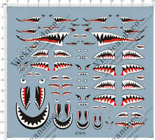 Universal 1/144 1/72 1/48 1/32 Military Aircraft Shark Jaw Model Kit Water Decal