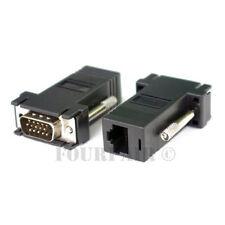1 Pair (2 pcs) VGA SVGA to RJ45 Video Extender Adapters HD15 to CAT5e CAT6 100'