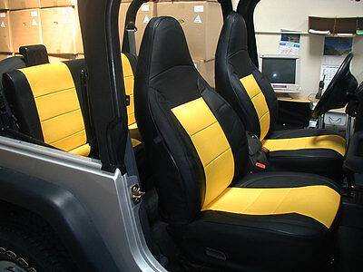 Super Jeep Wrangler Tj Sahara 1997 2002 Black Yellow Iggee S Leather Seat Cover Ebay Gamerscity Chair Design For Home Gamerscityorg