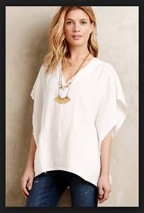 64bb2f9dfdf523 Image is loading NEW-Anthropologie-Horses-Atelier-White-Linen-Kimono-Top-