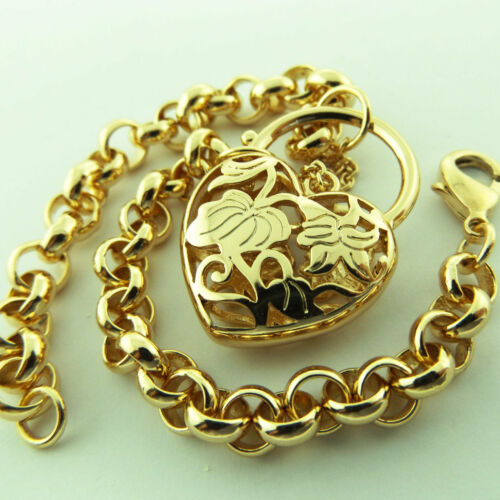 PADLOCK BRACELET BANGLE REAL 18K YELLOW G//F GOLD SOLID BELCHER LINK HEART DESIGN