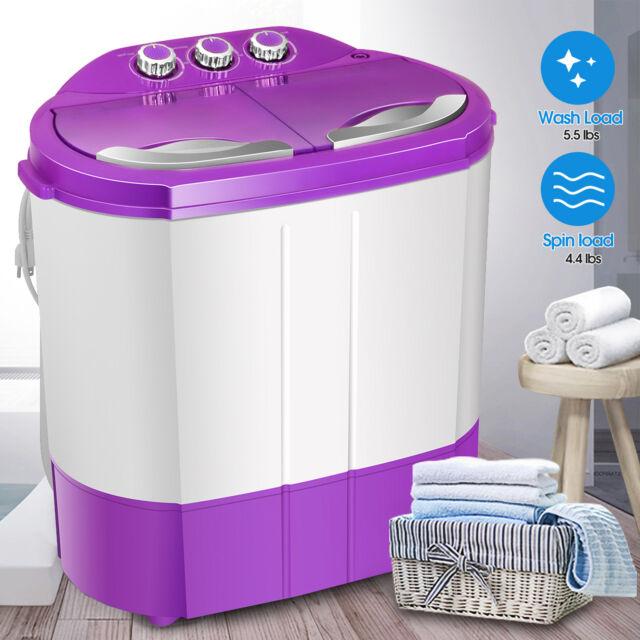 9.9lbs Washing Machine Portable Mini Twin Tub Compact Washer Spin Dryer W/ Hose