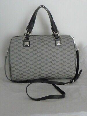 Michael Kors 38F8XGYS3V Grayson Black Gray Large Satchel Crossbody Handbag