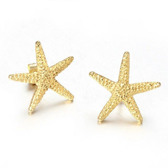 18k Gold Plated Starfish Earrings Women S Anium Steel Ear Studs Anti Allererg