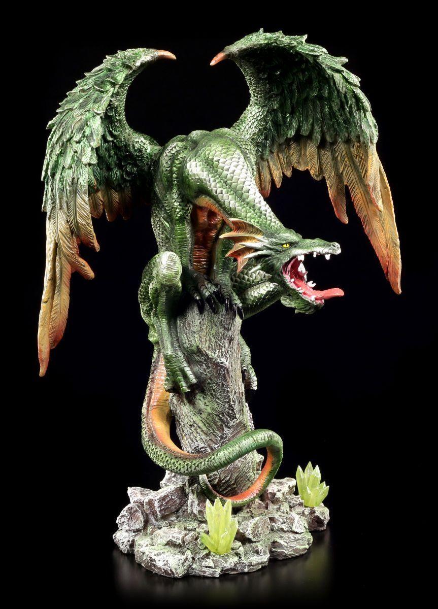 Figura de Dragón verde - verde Wings sobre Roca - Fantasy Drachenjunges Estatua