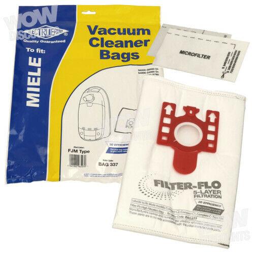 Electruepart Filter-Flo Miele FJM Vacuum Dust Bags Pack of 4 + 2 Filters