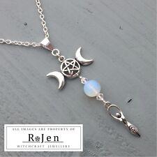 Long Triple Moon Pentagram Goddess Opalite & Acrylic Beaded Pendant Wicca Pagan