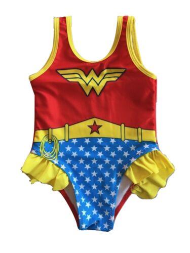 NEW Girls Toddler Superhero Swimsuit Ruffle One Piece Wonder Woman 2T-5T