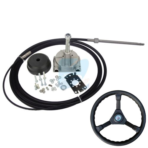 15FT Single Turbine Rotary Outboard Steering System W// Boat Steering Cable Wheel