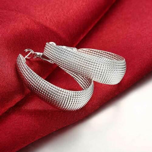 PROMOTION PRIX Argent Sterling 925 Maille fermée Femmes Fashion Boucles d/'oreilles Créoles E064