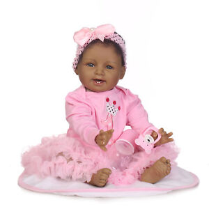22 Reborn African American Baby Doll Sweet Pink Silicone Indian