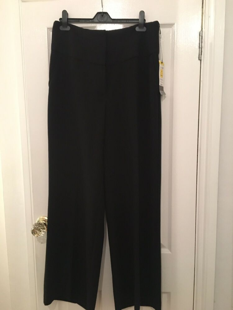 Neuf Marks & Spencer Noir Taille 16 Jambe Large Neuf Avec étiquettes Joli Pantalon