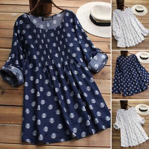 Simple-Femme-Loose-Col-Rond-Manche-Longue-Imprime-Floral-Shirt-Haut-Tops-Plus