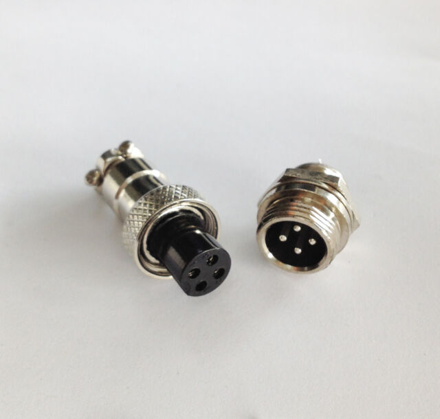 M12 12mm 4 Pin Screw Type Electrical Plug Socket Connector