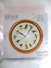 NEW SINGING BIRDS WALL CLOCK DIFFERENT BIRD SONG EVERY HOUR ROUND WOOD PMS