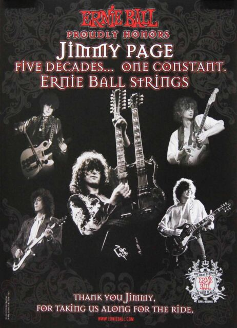 Jimmy Page Led Zeppelin 2007 Five Decades Ernie Ball Original Promo Poster
