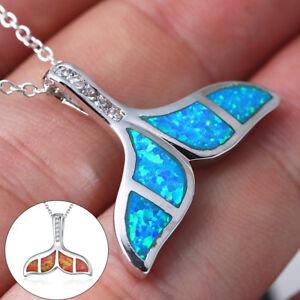 Women/'s Crystal Blue Opal Cross Pendant Necklace Charm Trendy Jewelry Gift Opal
