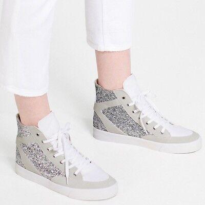 NWT Zara Glitter Shiny High Top Lace Up