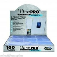 100 Ultra-pro Premium Silver 9 Card Pocket Pages Sheets With Free Shipping