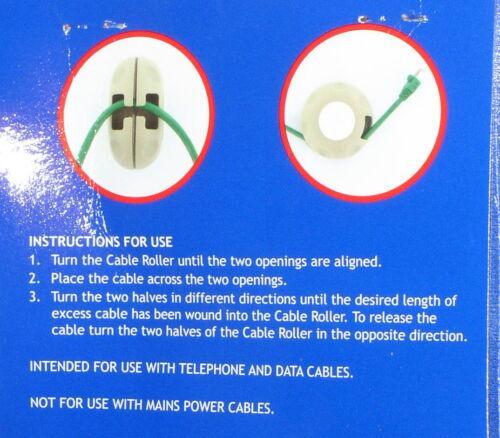 85mm entièrement neuf sous emballage données /& téléphone câbles//fils 4 x câble de rouleaux pour tidy haut-parleur