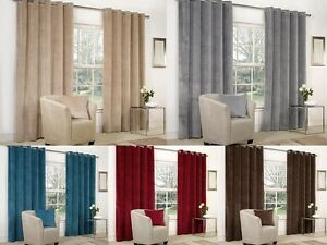 Image Is Loading VELVET RINGTOP LINED WINDOW DOOR CURTAINS BROWN RED