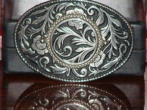 Silver-amp-Black-Flower-Print-Belt-Buckle-Missing-Stone