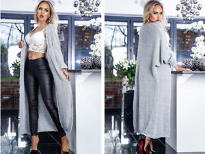 Temperate New Womens Ladies Grey Batwing Sleeved Longline Knitted Maxi Cardigan To Make One Feel At Ease And Energetic