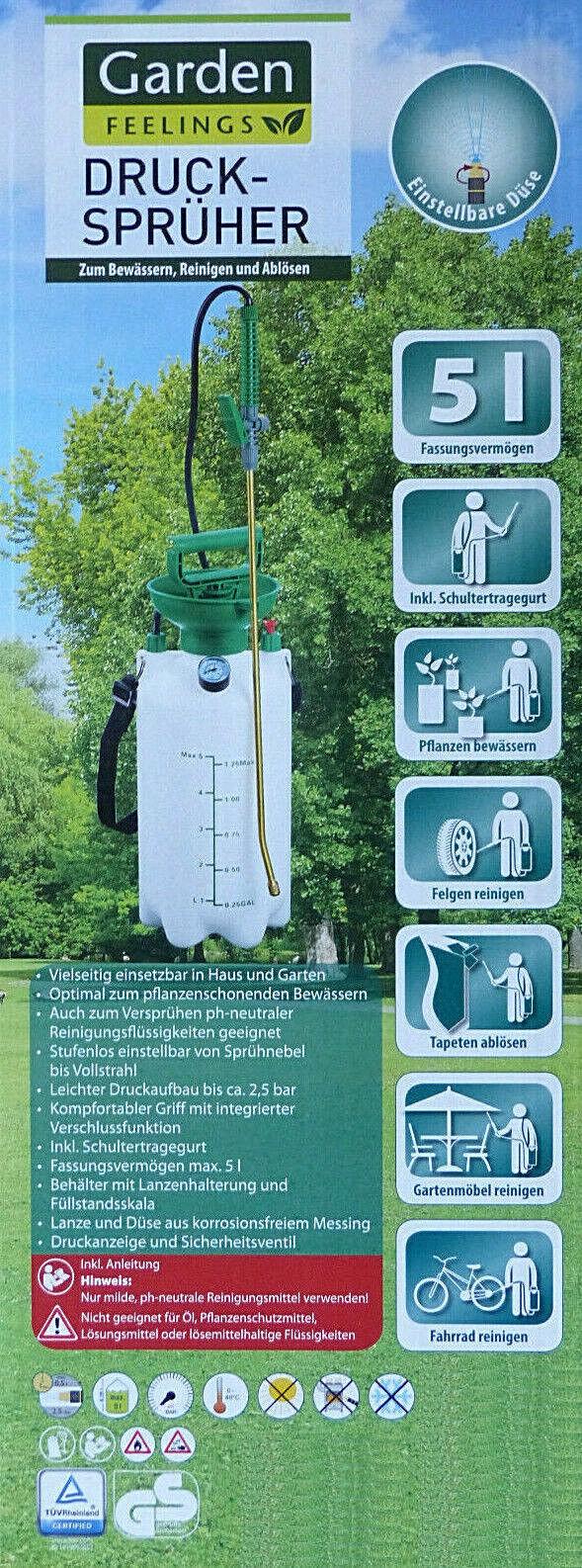 Drucksprüher 5 Liter 2,5 bar mit Manometer Tragegurt Einstellbare Düse NEU