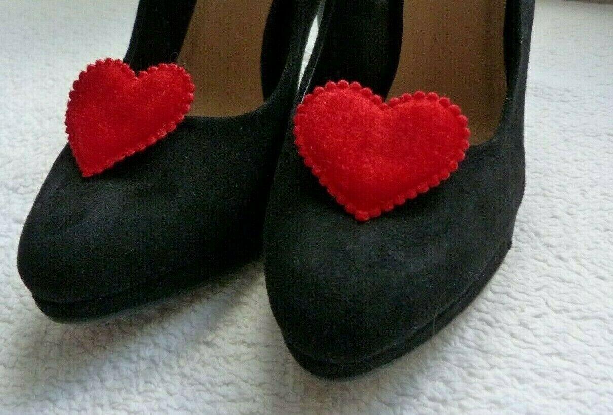 Red Velvet Queen of Hearts Shoe Clips - Queen of Hearts Fancy Dress