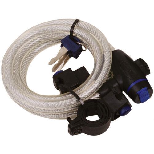 Oxford Bicycle Bike Cycle Coil Hoop Loop Spiral Cable Lock Clear 1.8m x 12mm