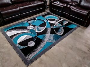Image Is Loading Modern Rug Contemporary Area 5x8 Turquoise Black