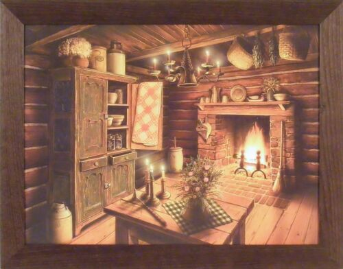 EVENING GLOW by Doug Knutson 22x28 FRAMED PICTURE Country Fireplace Kitchen