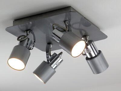 Lampadario A Faretti.Plafoniera Moderna Lampadario Faretti Spot Orientabili Gu10 Grigio Cromo Ebay