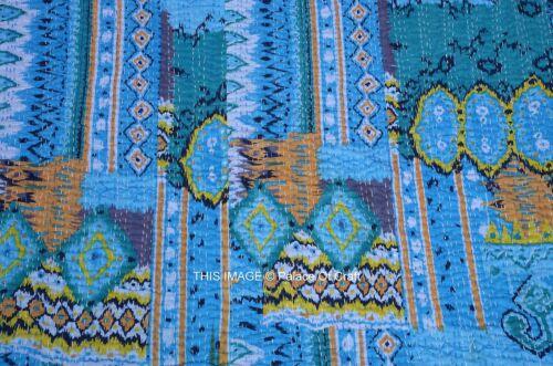 Tie /& Dye Cotton with Ikat Patch Indian Dress Blue Shibori White and Blue Long DressKurta Kantha Embroidery