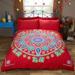 SINGLE-SIZE-QUILT-COVER-BED-SET-034-BOHEMIAN-MANDALA-034-RED