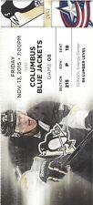 Pittsburgh Penguin Ticket Stub 11/13/15 Evgeni Malkin